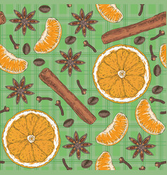 Seamless pattern citrus spices and coffee beans vector