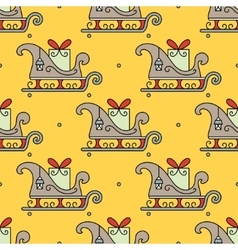 Seamless pattern with santa s sleigh vector