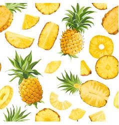 Seamless pineapple fruit tropical texture tropic vector