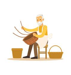 Senior man weaving baskets craft hobor vector