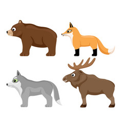 set cute forest animals vector image