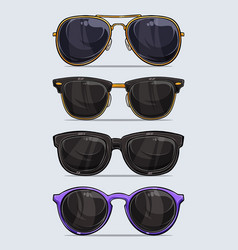 Set hand drawn modern and beautiful sunglasses vector