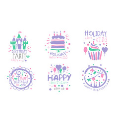 Set logos for a birthday party for a girl vector