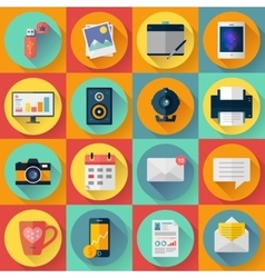set modern flat icons collection vector image