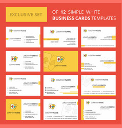 set of 12 poker creative busienss card template vector image