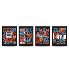 set of black cover brochures in retro style vector image