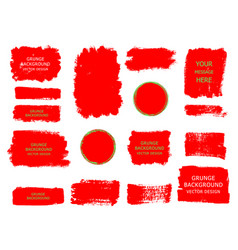 Set of red paint ink brush strokes brushes vector