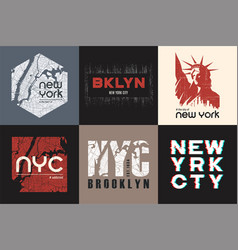 set of six new york t-shirt and apparel designs vector image