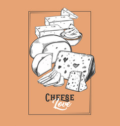 Sketch for cheese banner vegetarian food badge vector
