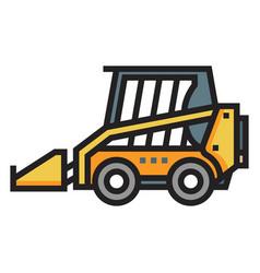 Skid steer loader linecolor vector