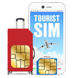 smartphone with tourist sim card luggage bag vector image