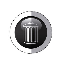 sticker black circular frame with trash container vector image