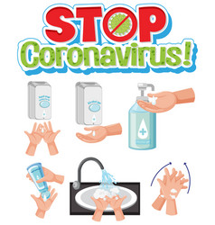 Stop corona washing hand vector