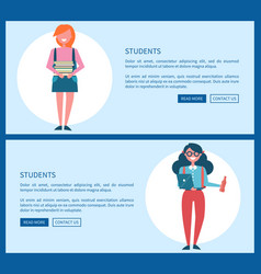 Students on internet informative promotional page vector