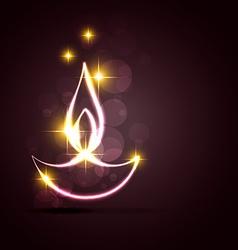 Stylish diwali diya on a background vector