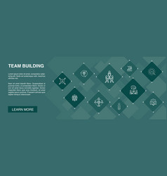 Team building banner 10 icons concept vector