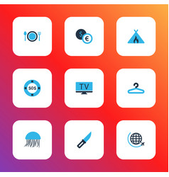 Trip icons colored set with hanger flight tent vector