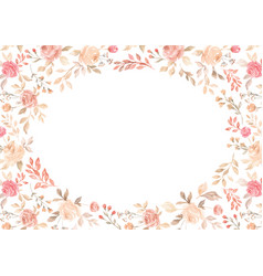 watercolor pink flower plant border white paper vector image