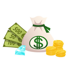 wealth financial cash banknotes coins diamond vector image