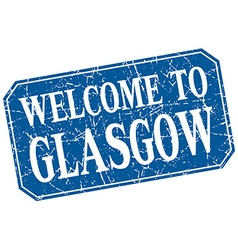 Welcome to Glasgow blue square grunge stamp vector