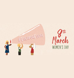 Womens day 8 march card social women group vector