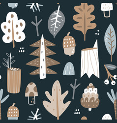 woodland seamless pattern trendy forest texture vector image
