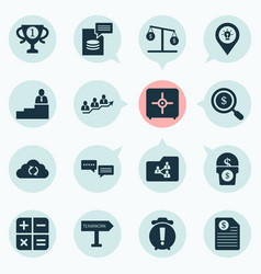 Work icons set with search money calculator vector