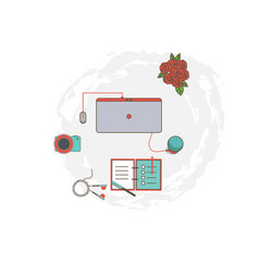 Workplace flat style computer a technique vector