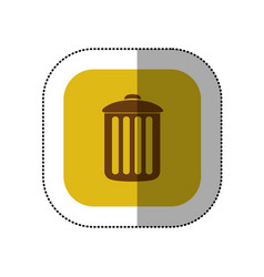 yellow symbol trash can icon vector image