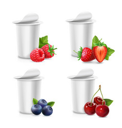 Yogurt packing blank container and berries vector