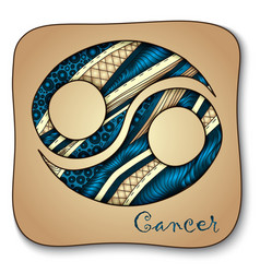 Zodiac sign - Cancer Doodle hand-drawn style vector image