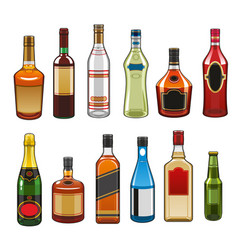 icons of alcohol drinks bottles vector image