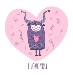 monster with heart i love you vector image