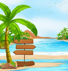 Ocean view with signs and tree vector image vector image
