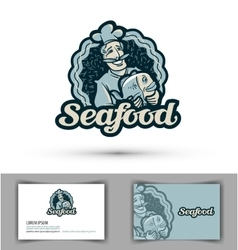 seafood logo fresh fish cooking or vector image vector image