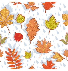 Autumn leaves colorful seamless pattern vector image