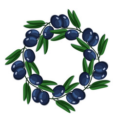 black olives round wreath branch leaves vector image