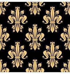 Golden seamless pattern of royal fleur-de-lis vector