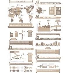 INFOGRAPHIC DEMOGRAPHICS WORLD PERCENTAGE BROWN vector image