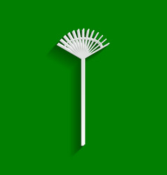 lawn rake sign paper whitish icon with vector image