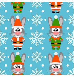 new year seamless card with funny rabbit santa cla vector image
