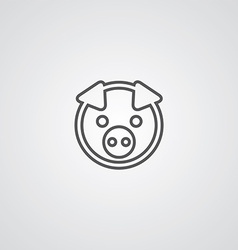 pig outline symbol dark on white background logo vector image vector image