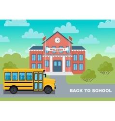 School building and yellow bus vector