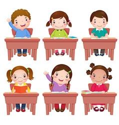 School kids sitting on table vector image vector image