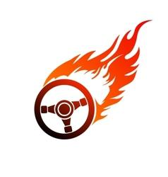 symbol burning automobile steering vector image
