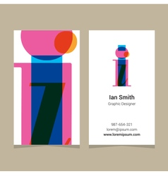 business card letter I vector image vector image