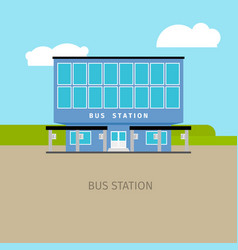 colored bus station building vector image vector image