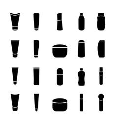 icon black cosmetics bottle set on white vector image vector image