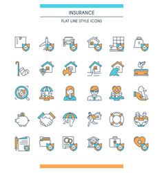 icons set on theme insurance vector image vector image