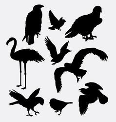bird animal collection silhouette vector image